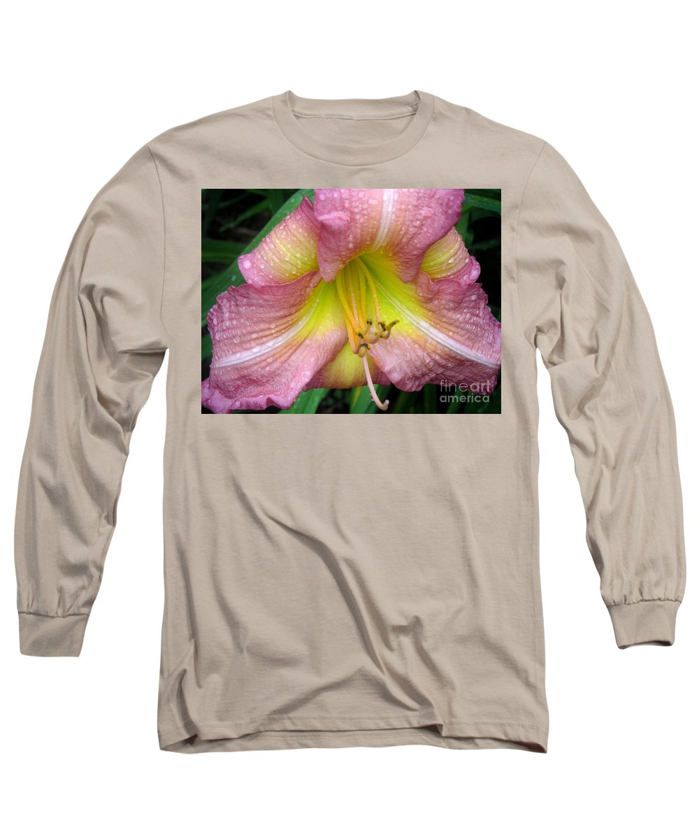 Nature Long Sleeve T-Shirt featuring the photograph Jacqueline's Garden - Lily Glistening Thrice by Lucyna A M Green