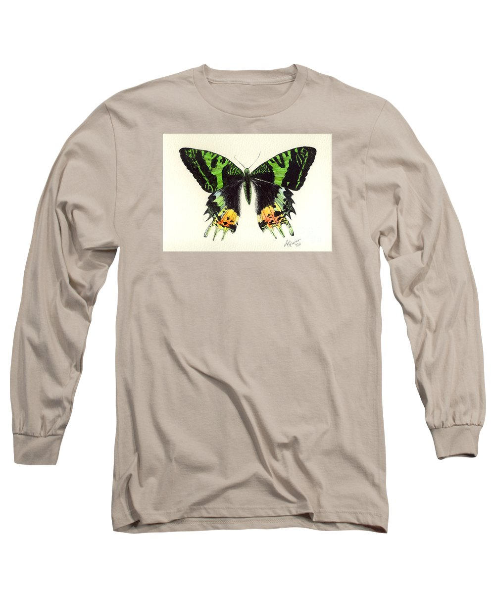 Butterfly Long Sleeve T-Shirt featuring the painting Jamaican Jewel by Lynn Quinn