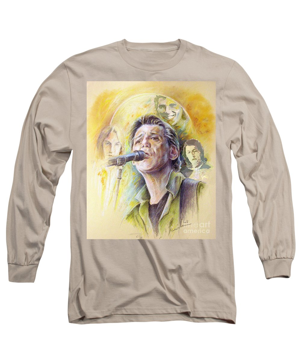 Jeff Christie Long Sleeve T-Shirt featuring the painting Jeff Christie by Miki De Goodaboom
