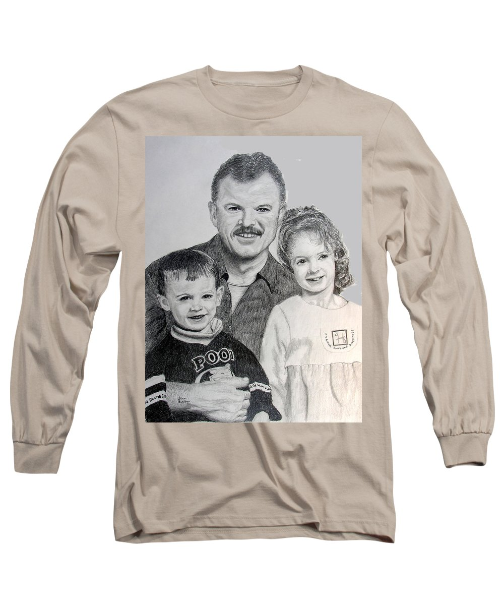Portrait Long Sleeve T-Shirt featuring the drawing John Megan And Joey by Stan Hamilton