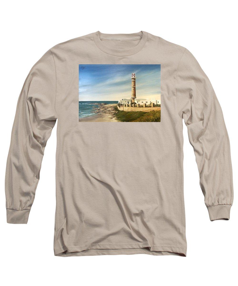 Landscape Seascape Lighthouse Uruguay Beach Sea Water Long Sleeve T-Shirt featuring the painting Jose Ignacio Lighthouse Evening by Natalia Tejera