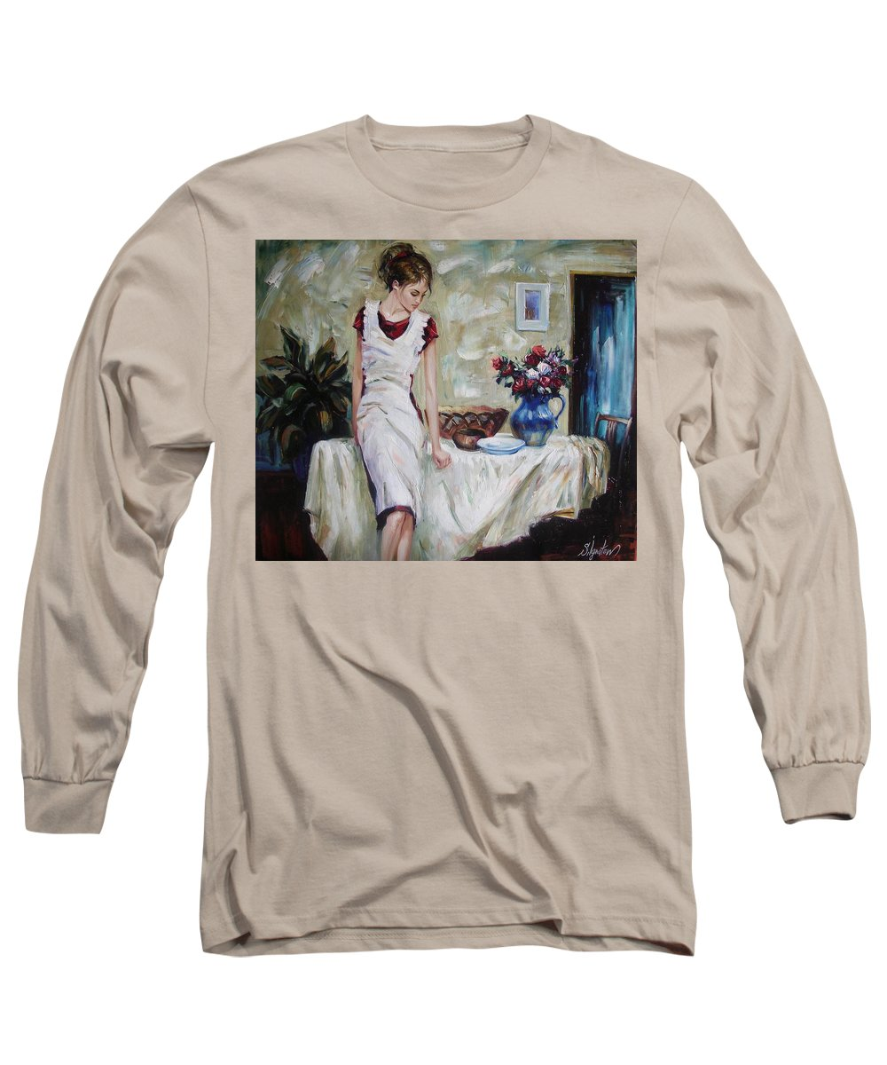 Figurative Long Sleeve T-Shirt featuring the painting Just The Next Day by Sergey Ignatenko