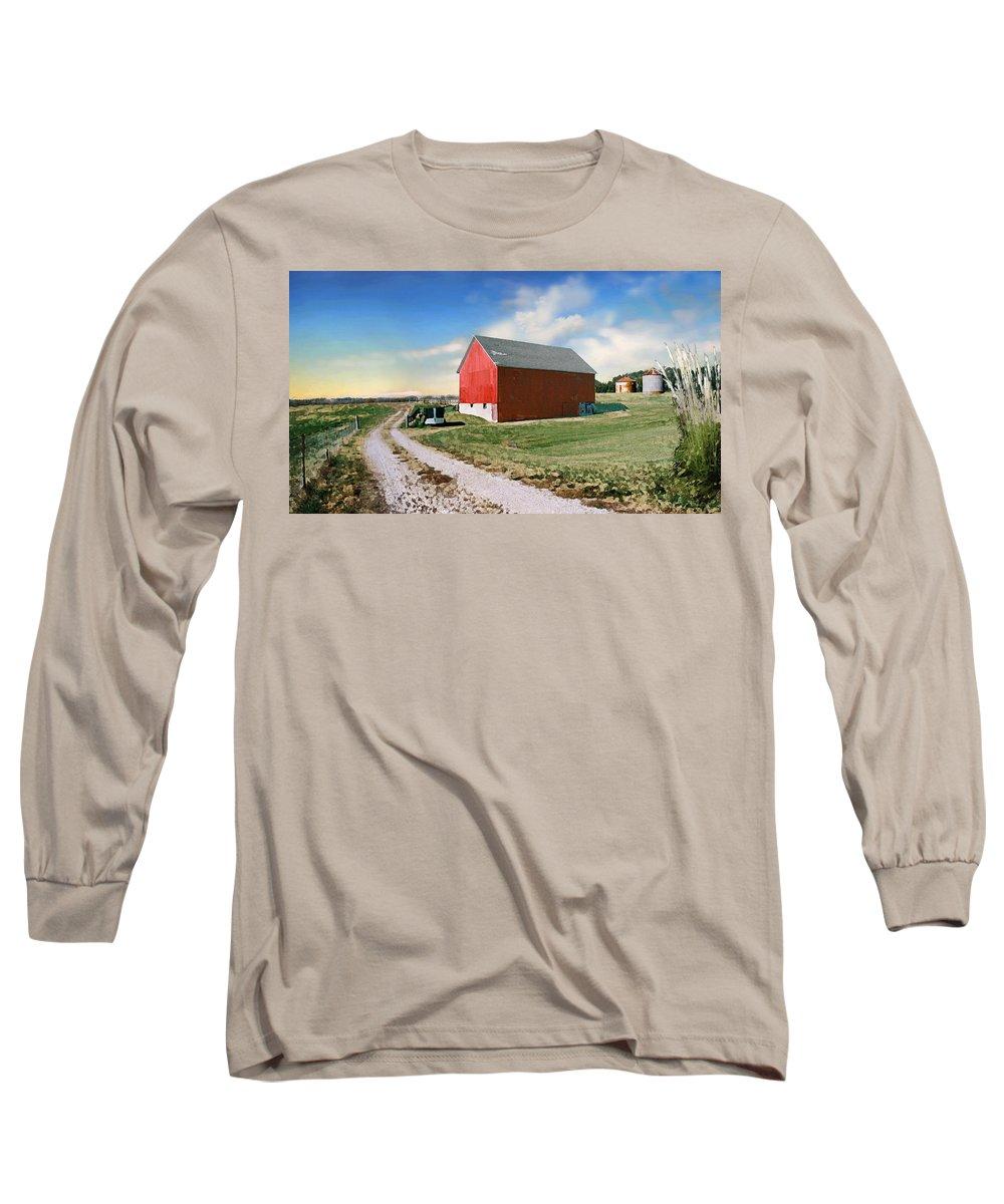Barn Long Sleeve T-Shirt featuring the photograph Kansas Landscape II by Steve Karol