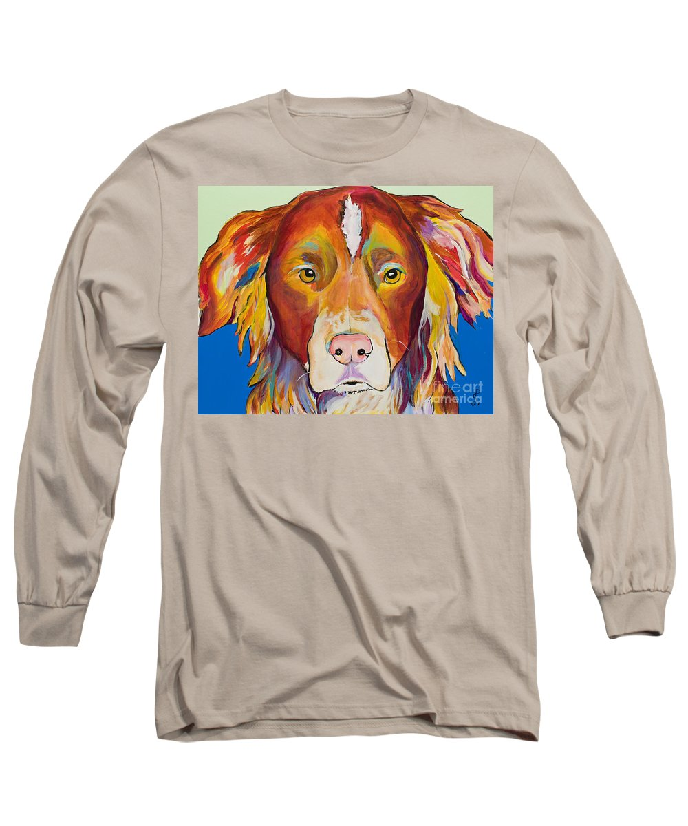 Australian Border Collie Long Sleeve T-Shirt featuring the painting Keef by Pat Saunders-White