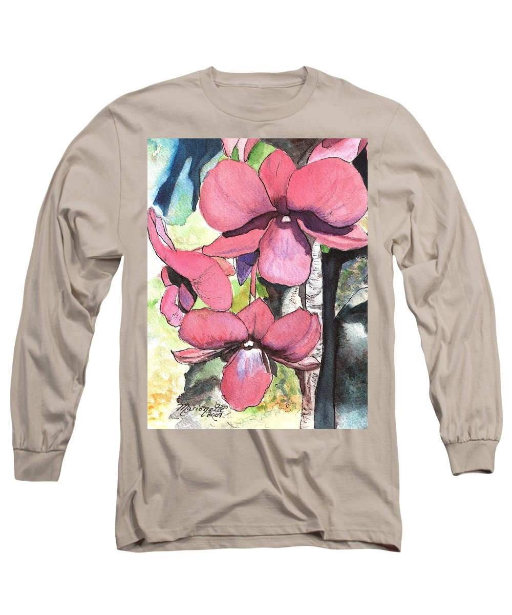 Orchid Long Sleeve T-Shirt featuring the painting Kiahuna Orchids by Marionette Taboniar
