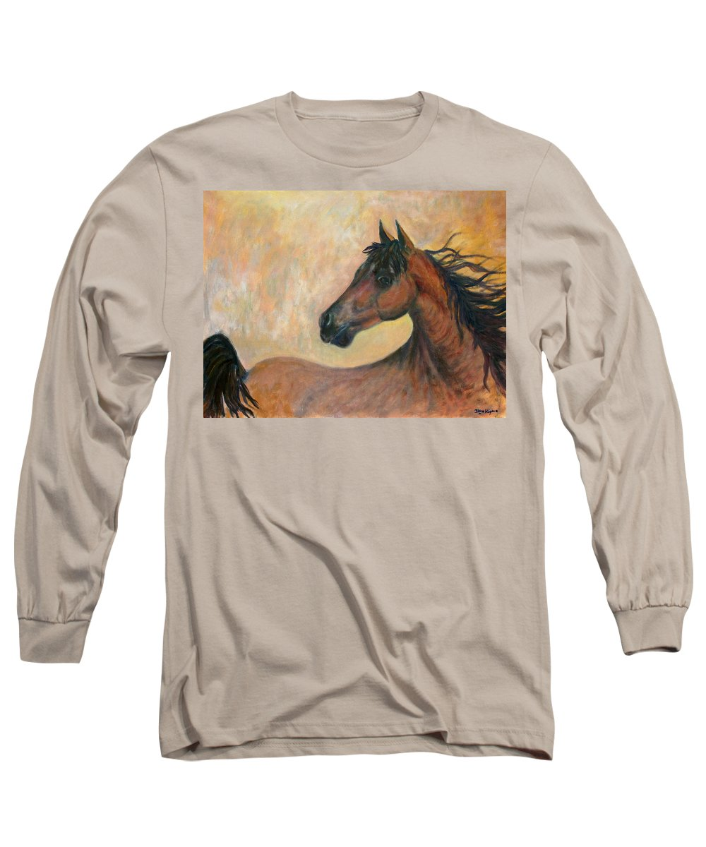 Horse Long Sleeve T-Shirt featuring the painting Kiger Mustang by Ben Kiger