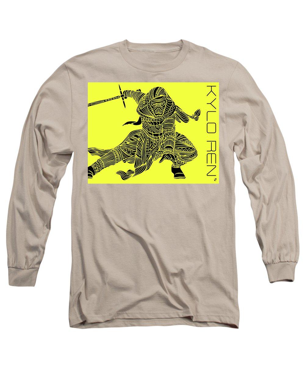 Kylo Ren Long Sleeve T-Shirt featuring the mixed media Kylo Ren - Star Wars Art - Yellow by Studio Grafiikka
