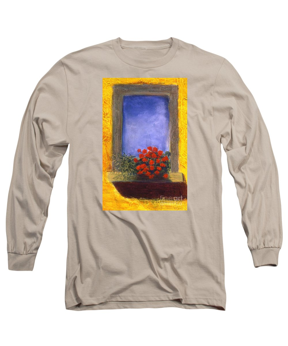Colorful Long Sleeve T-Shirt featuring the painting La Finstra Con I Fiori by Mary Erbert