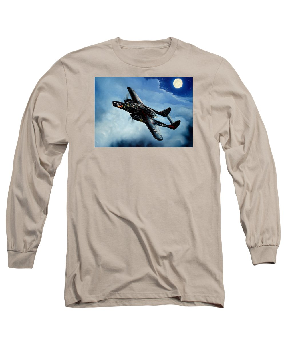 Military Long Sleeve T-Shirt featuring the painting Lady In The Dark by Marc Stewart