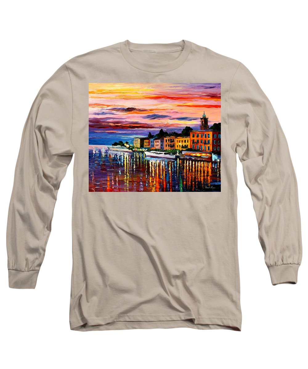 Cityscape Long Sleeve T-Shirt featuring the painting Lake Como - Bellagio by Leonid Afremov