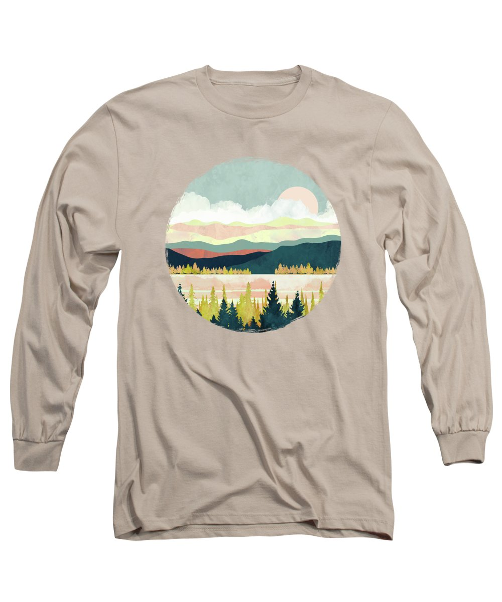 Lake Long Sleeve T-Shirt featuring the digital art Lake Forest by Spacefrog Designs
