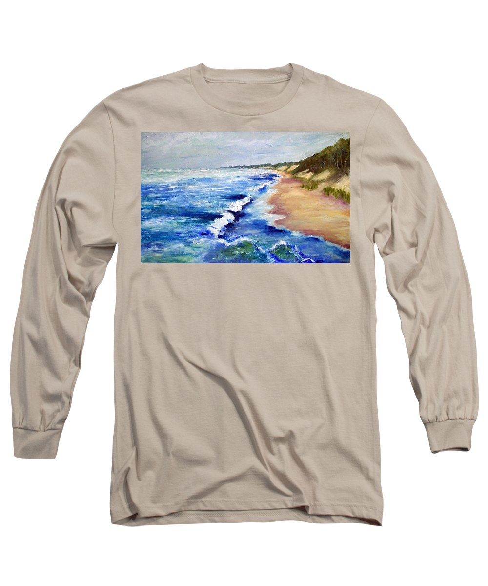 Whitecaps Long Sleeve T-Shirt featuring the painting Lake Michigan Beach With Whitecaps by Michelle Calkins
