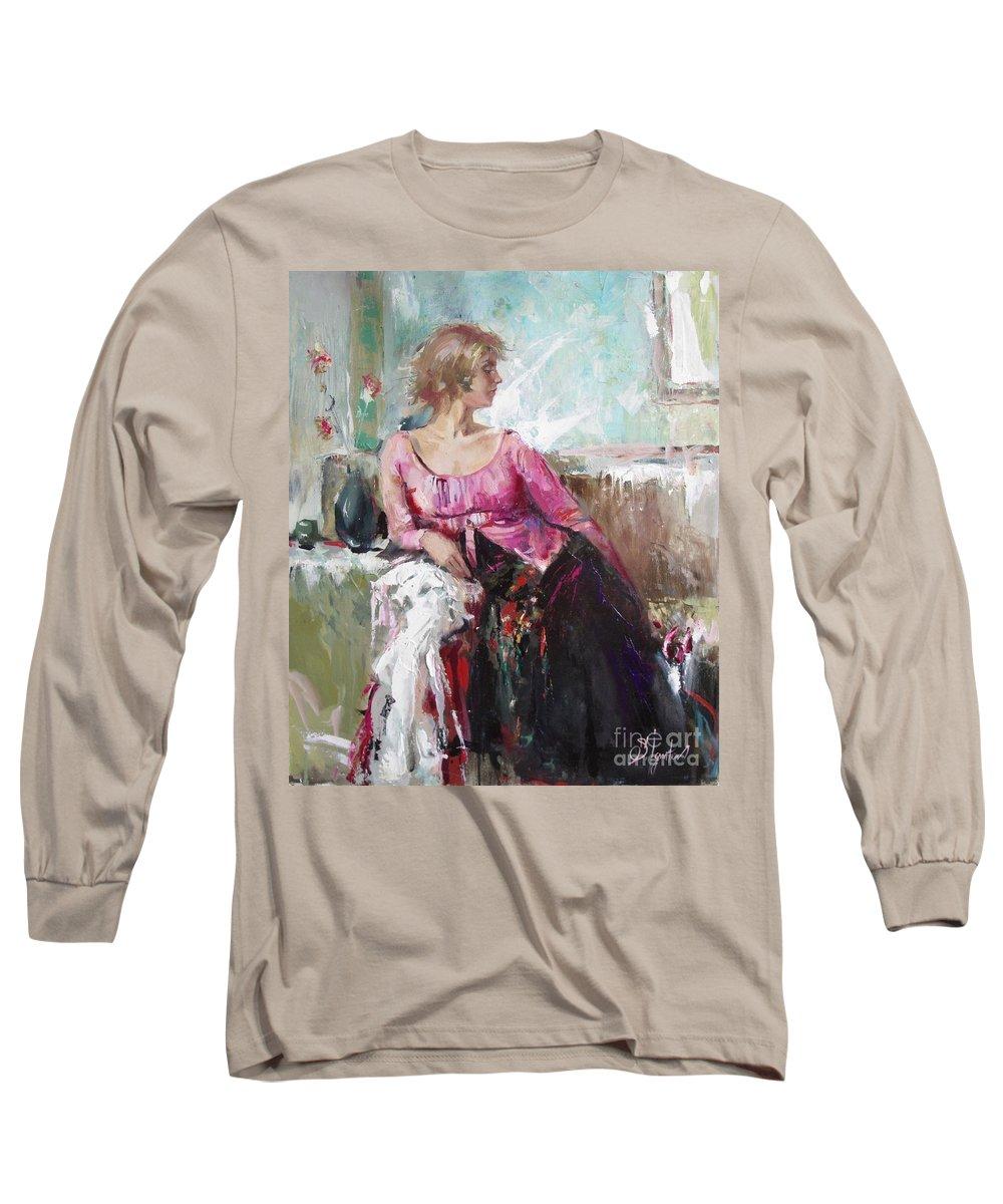 Ignatenko Long Sleeve T-Shirt featuring the painting Lera by Sergey Ignatenko