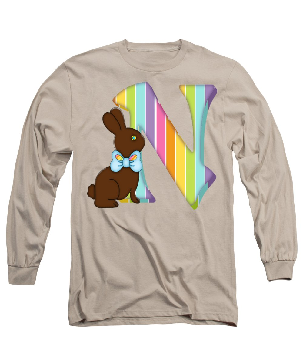 252cefc1f Monogram Long Sleeve T-Shirt featuring the digital art Letter N Chocolate  Easter Bunny by