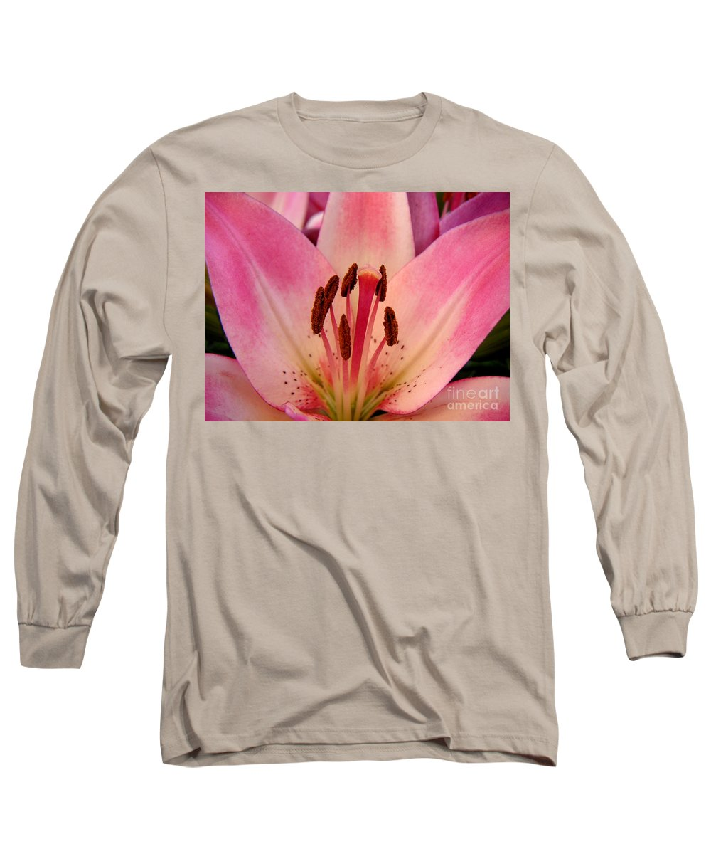 Nature Long Sleeve T-Shirt featuring the photograph Lily - An Intimate View by Lucyna A M Green