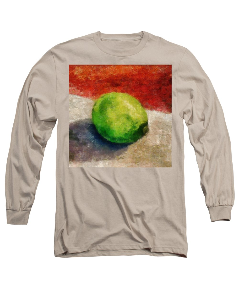 Lime Long Sleeve T-Shirt featuring the painting Lime Still Life by Michelle Calkins