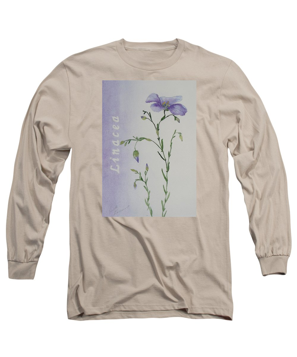 Flower Long Sleeve T-Shirt featuring the painting Linacea by Ruth Kamenev