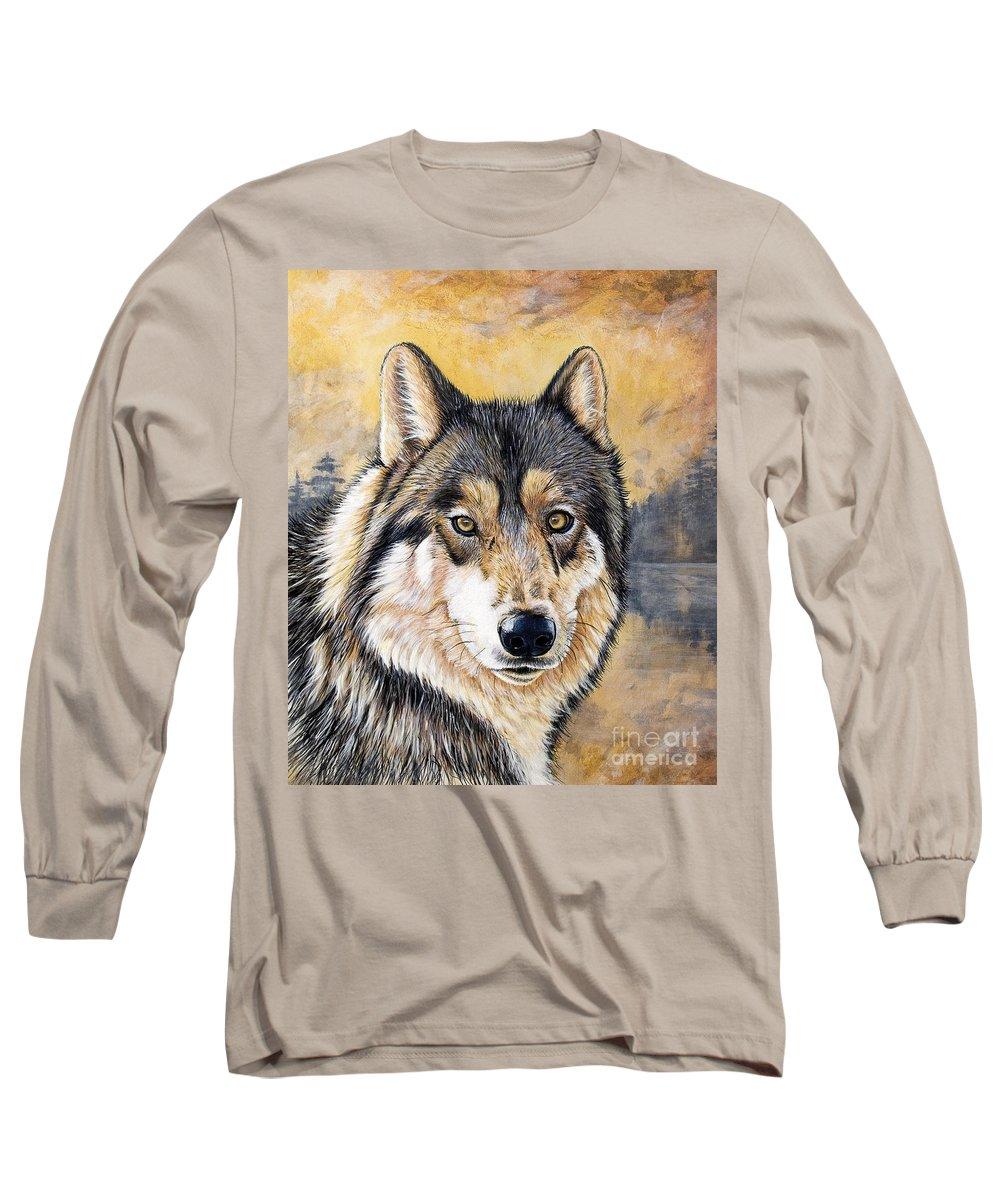 Acrylics Long Sleeve T-Shirt featuring the painting Loki by Sandi Baker