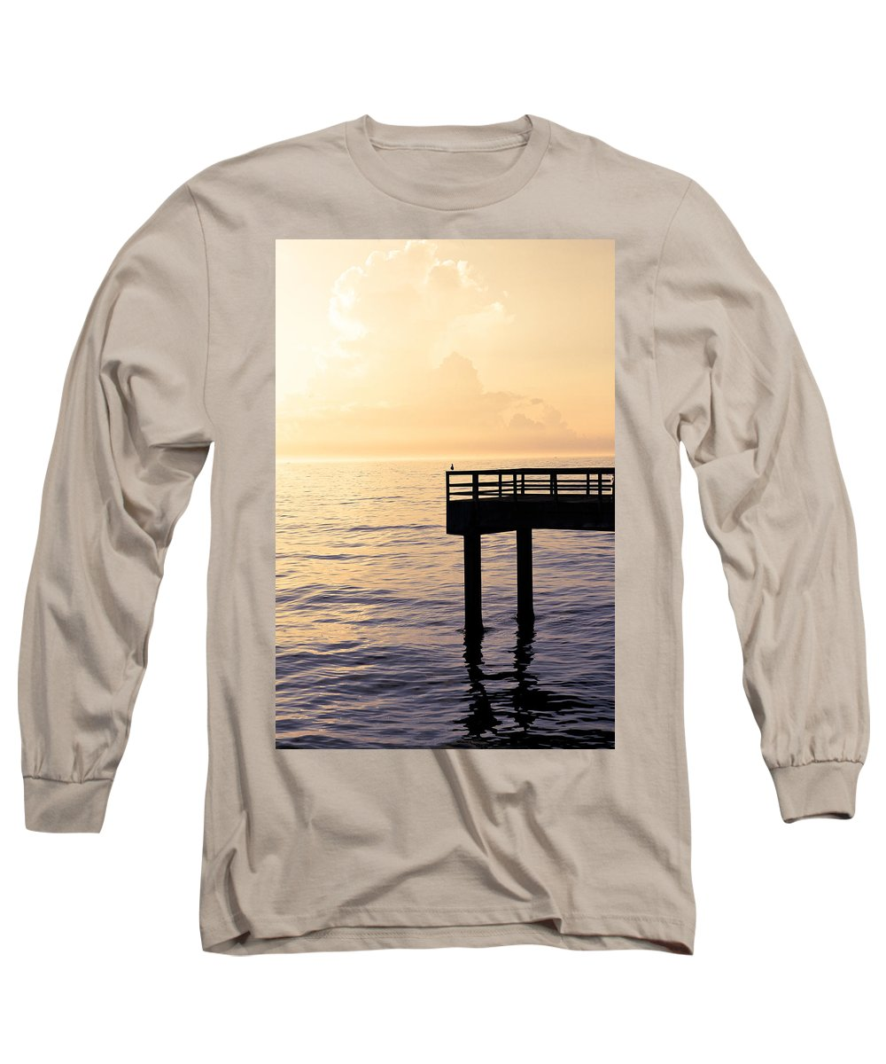 Beach Long Sleeve T-Shirt featuring the photograph Lone Bird At Morning by Marilyn Hunt
