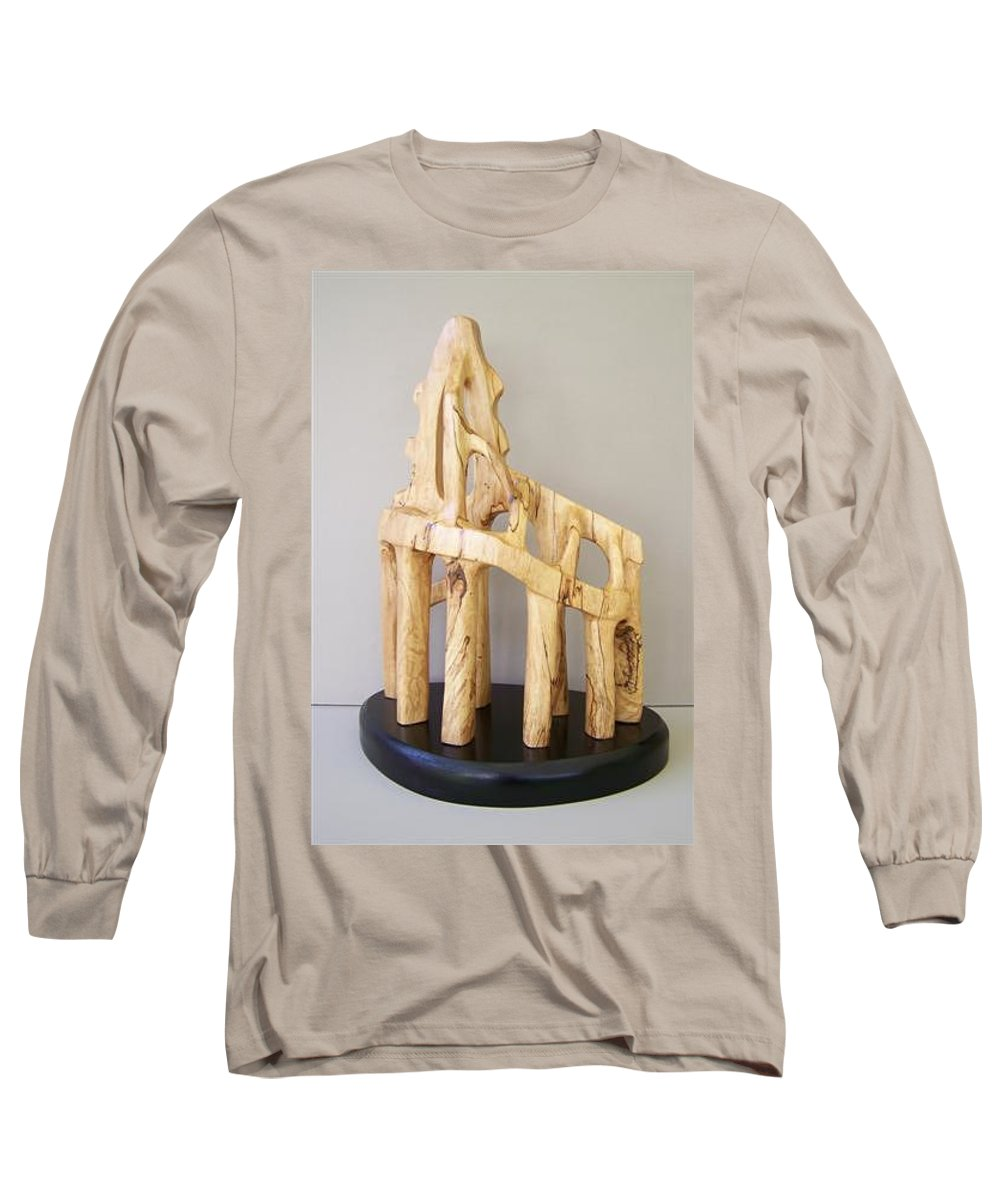 Wood-carving-sculpture-abstract- Long Sleeve T-Shirt featuring the sculpture Lost Glory by Norbert Bauwens
