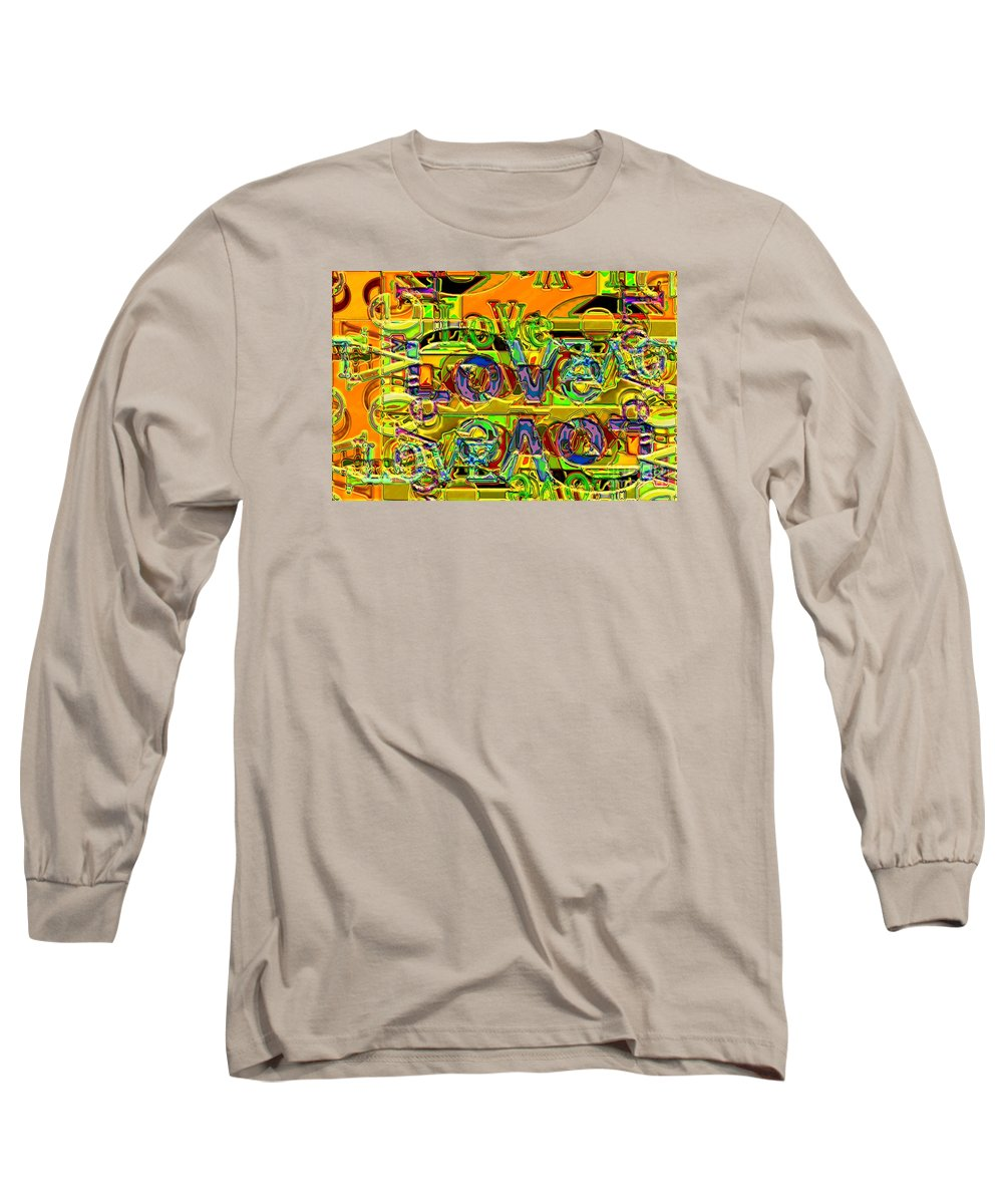 Abstract Long Sleeve T-Shirt featuring the digital art Love Contest by Ron Bissett