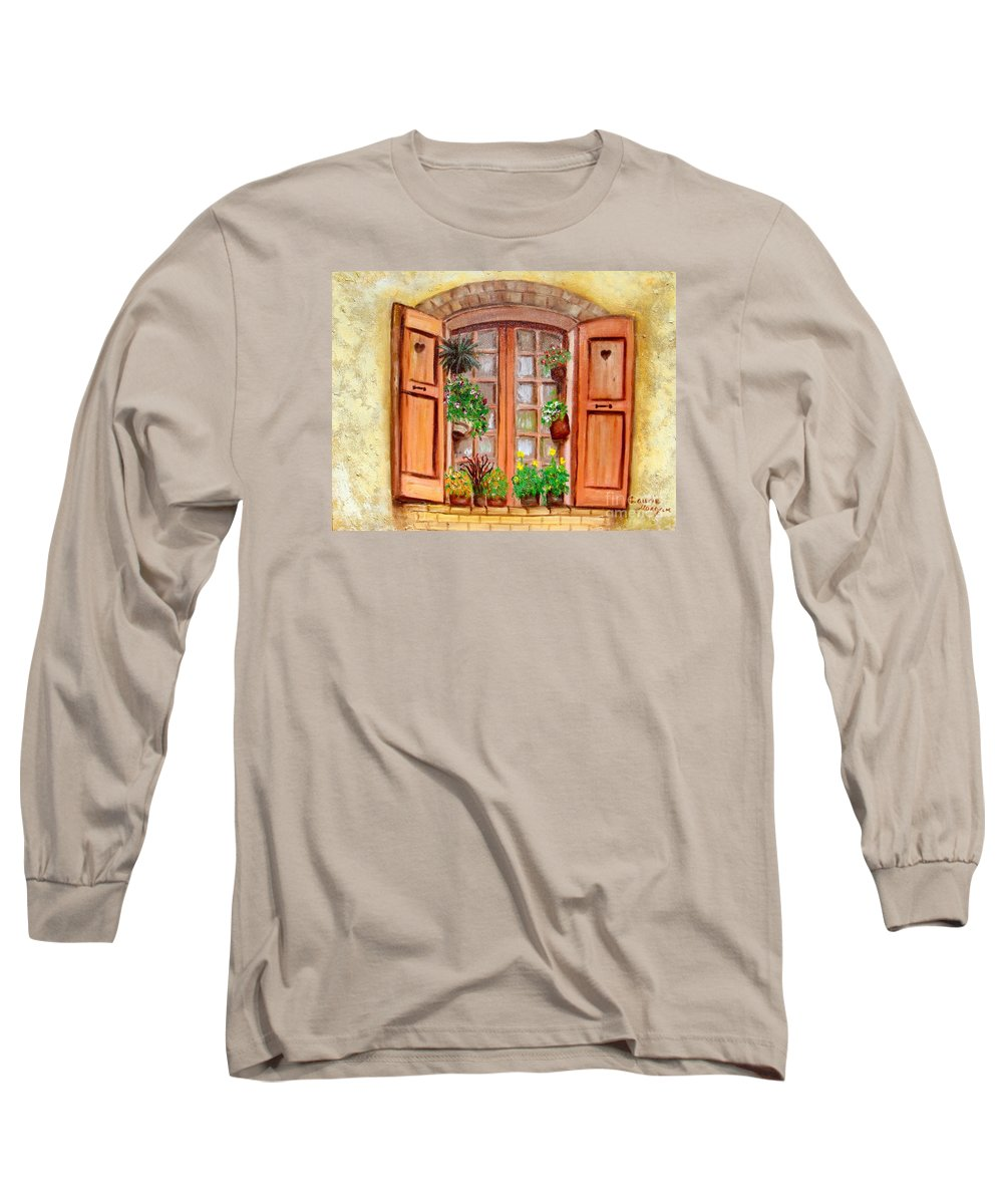 Windows Long Sleeve T-Shirt featuring the painting Love Nest by Laurie Morgan