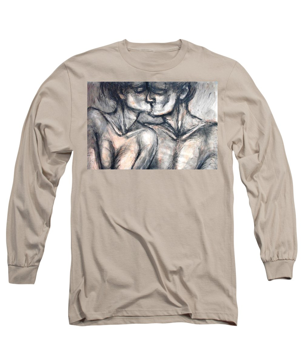 Original Long Sleeve T-Shirt featuring the painting Lovers - Kiss by Carmen Tyrrell