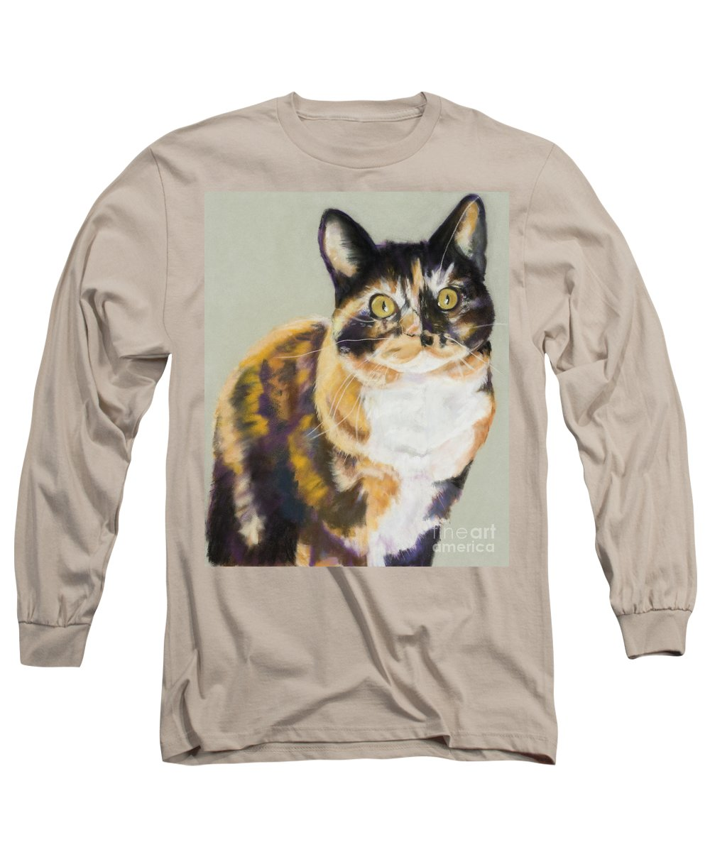 Calico Long Sleeve T-Shirt featuring the painting Maggie Mae by Pat Saunders-White