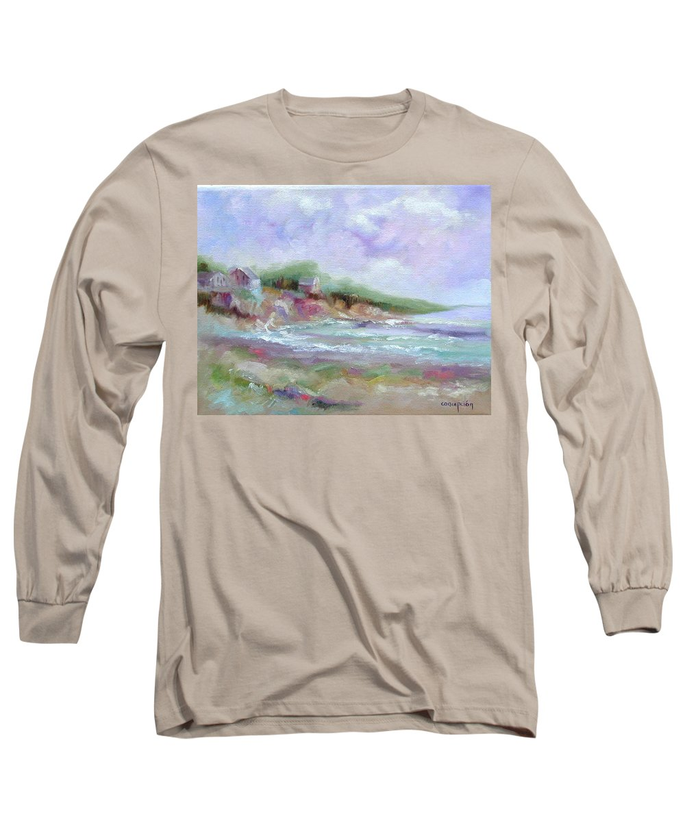Maine Coastline Long Sleeve T-Shirt featuring the painting Maine Coastline by Ginger Concepcion