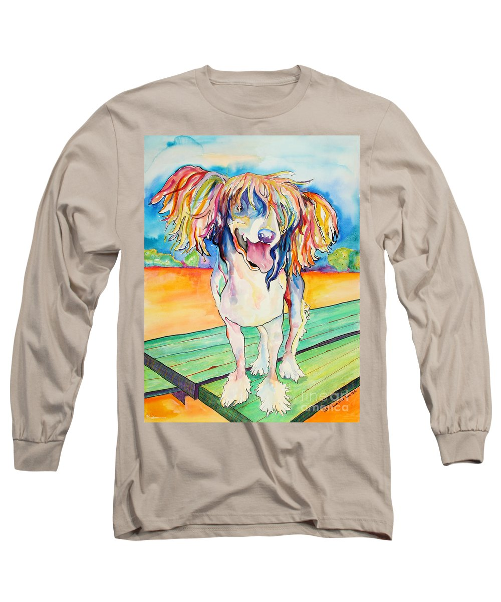 Chinese Crested Long Sleeve T-Shirt featuring the painting Mango Salsa by Pat Saunders-White