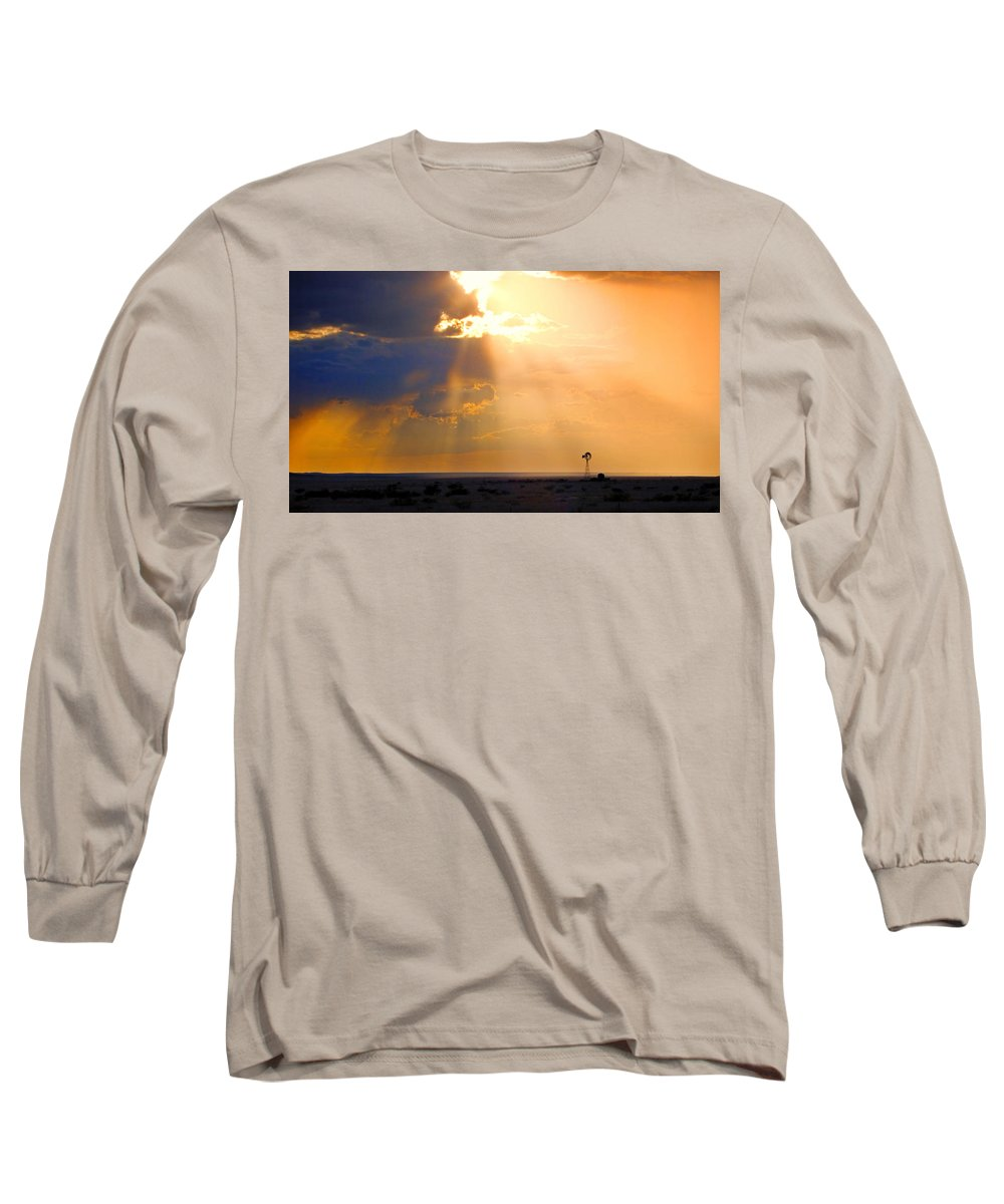 Skip Hunt Long Sleeve T-Shirt featuring the photograph Marfa Windmill 1 by Skip Hunt