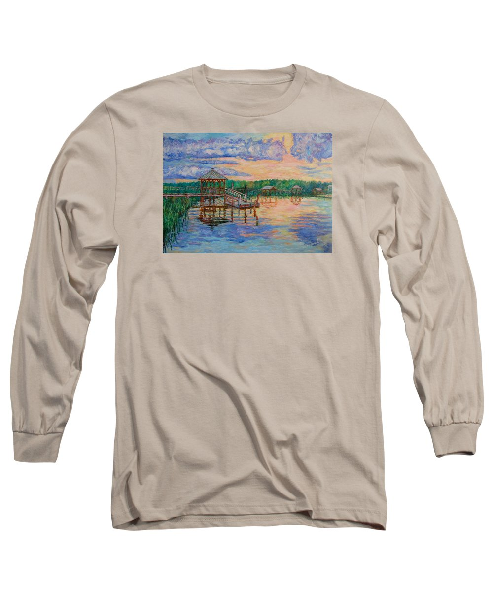 Landscape Long Sleeve T-Shirt featuring the painting Marsh View At Pawleys Island by Kendall Kessler