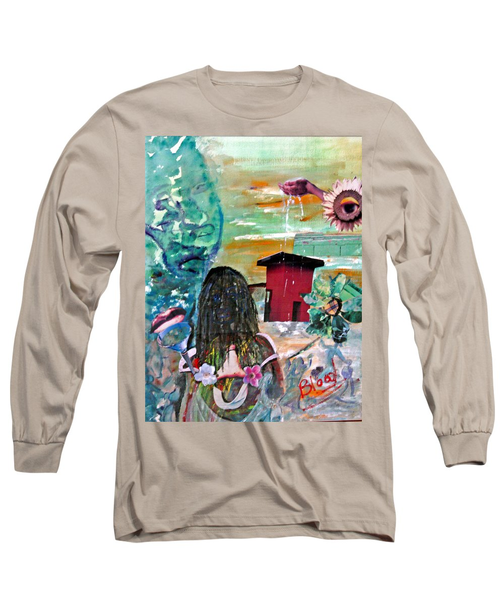 Water Long Sleeve T-Shirt featuring the painting Masks Of Life by Peggy Blood