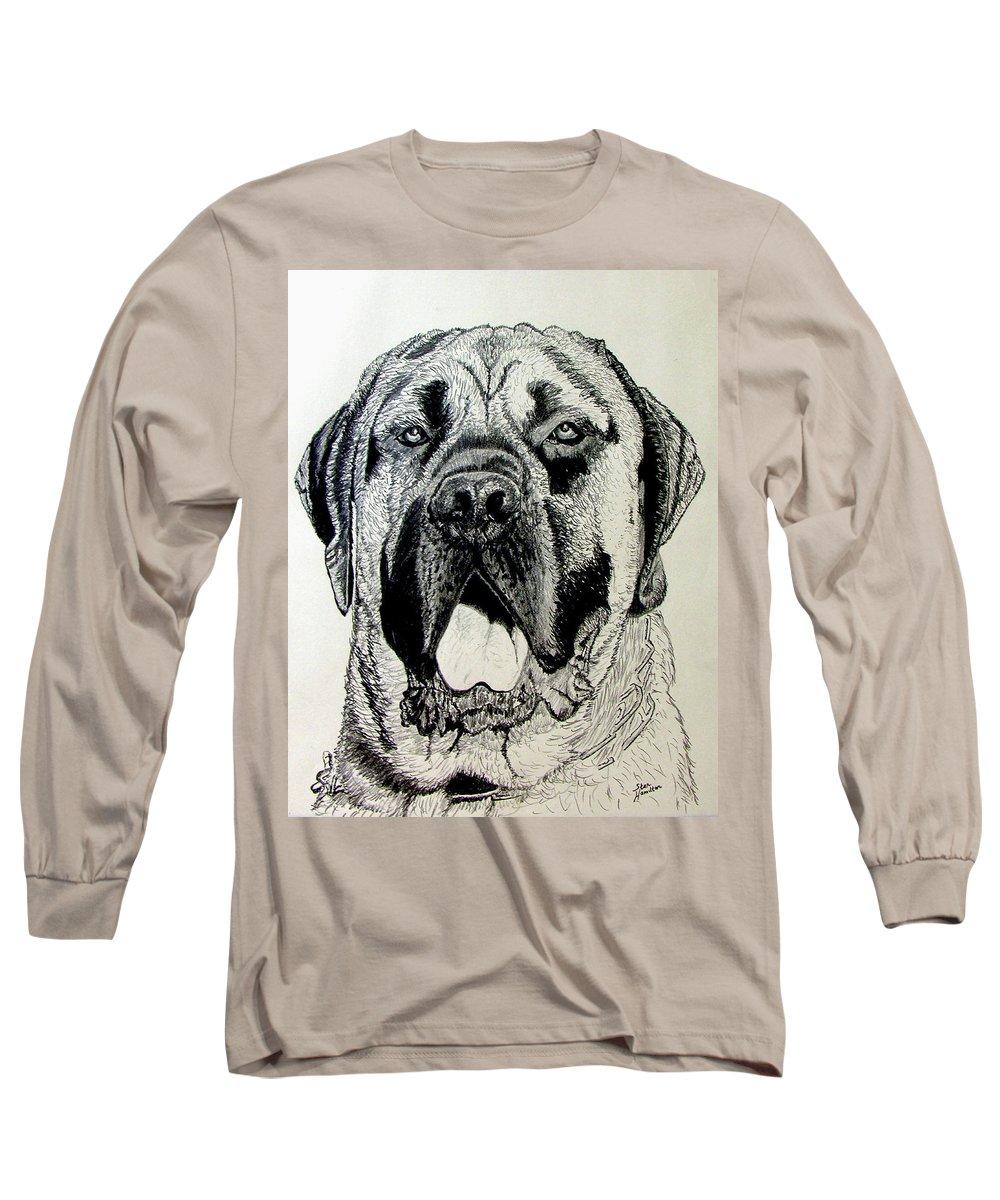 Mastiff Long Sleeve T-Shirt featuring the drawing Mastiff by Stan Hamilton