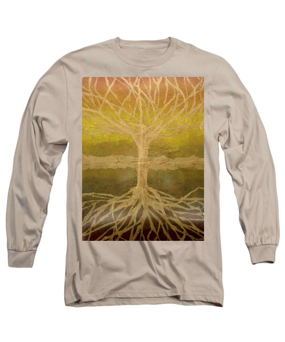 Abstract Long Sleeve T-Shirt featuring the painting Meditation by Leah Tomaino