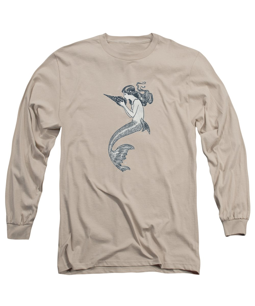 Mermaid Long Sleeve T-Shirt featuring the drawing Mermaid - Nautical Design by World Art Prints And Designs