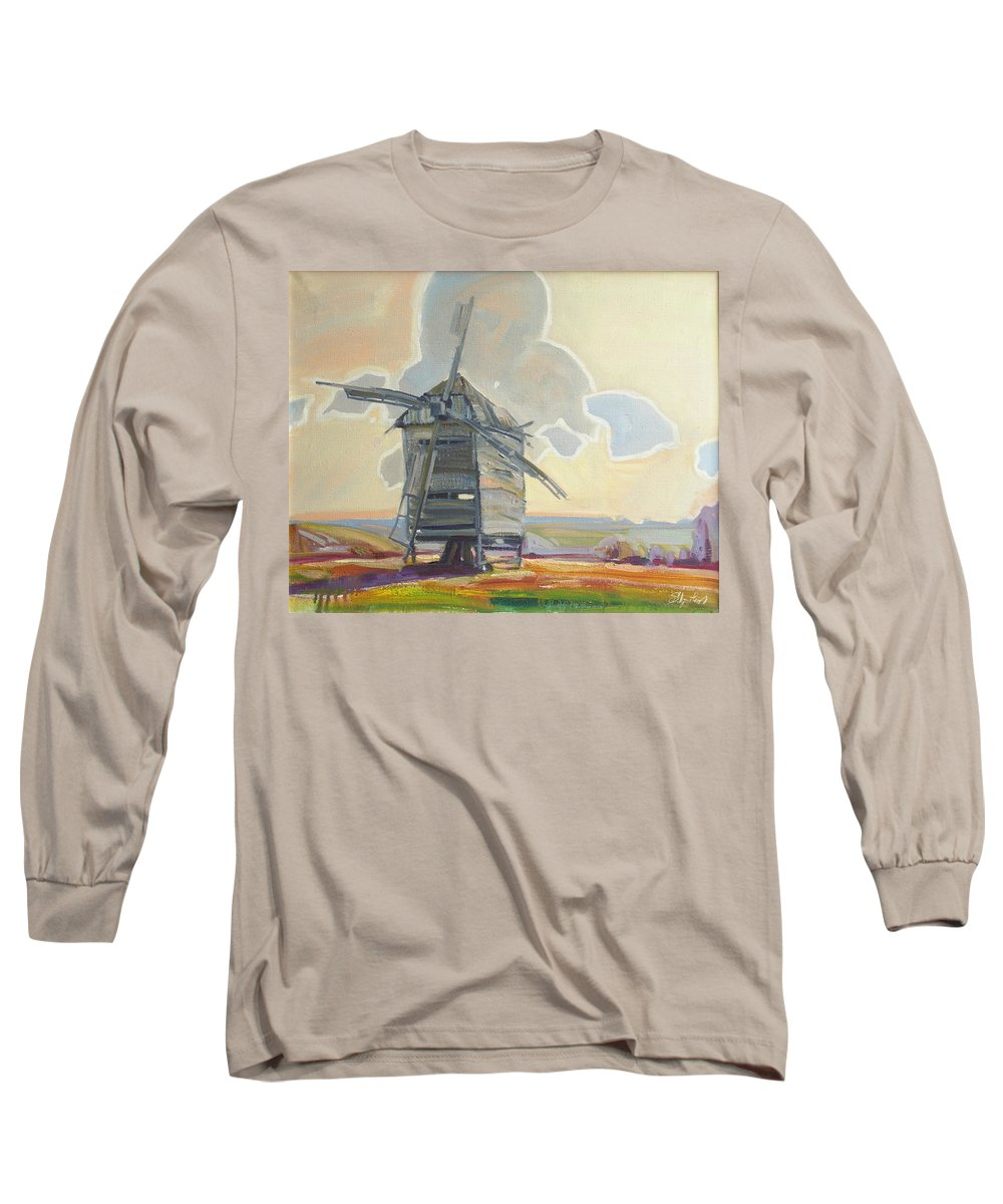 Oil Long Sleeve T-Shirt featuring the painting Mill by Sergey Ignatenko