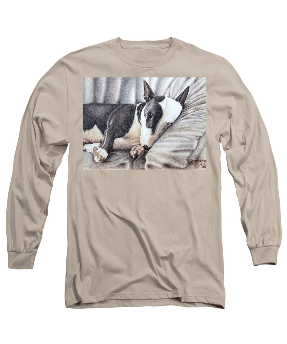 Dog Long Sleeve T-Shirt featuring the drawing Mini Bulldog Terrier by Nicole Zeug