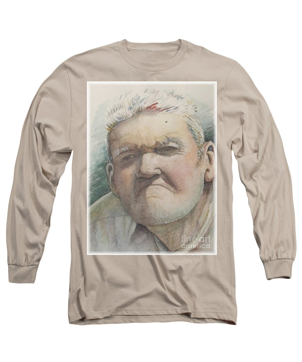 Portrait Long Sleeve T-Shirt featuring the painting Minnesota Farmer by Nadine Rippelmeyer