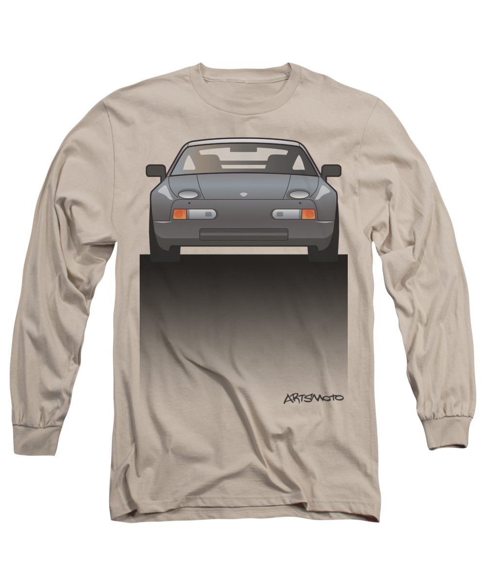 Car Long Sleeve T-Shirt featuring the digital art Modern Euro Icons Series Porsche 928 Gts Split by Monkey Crisis On Mars