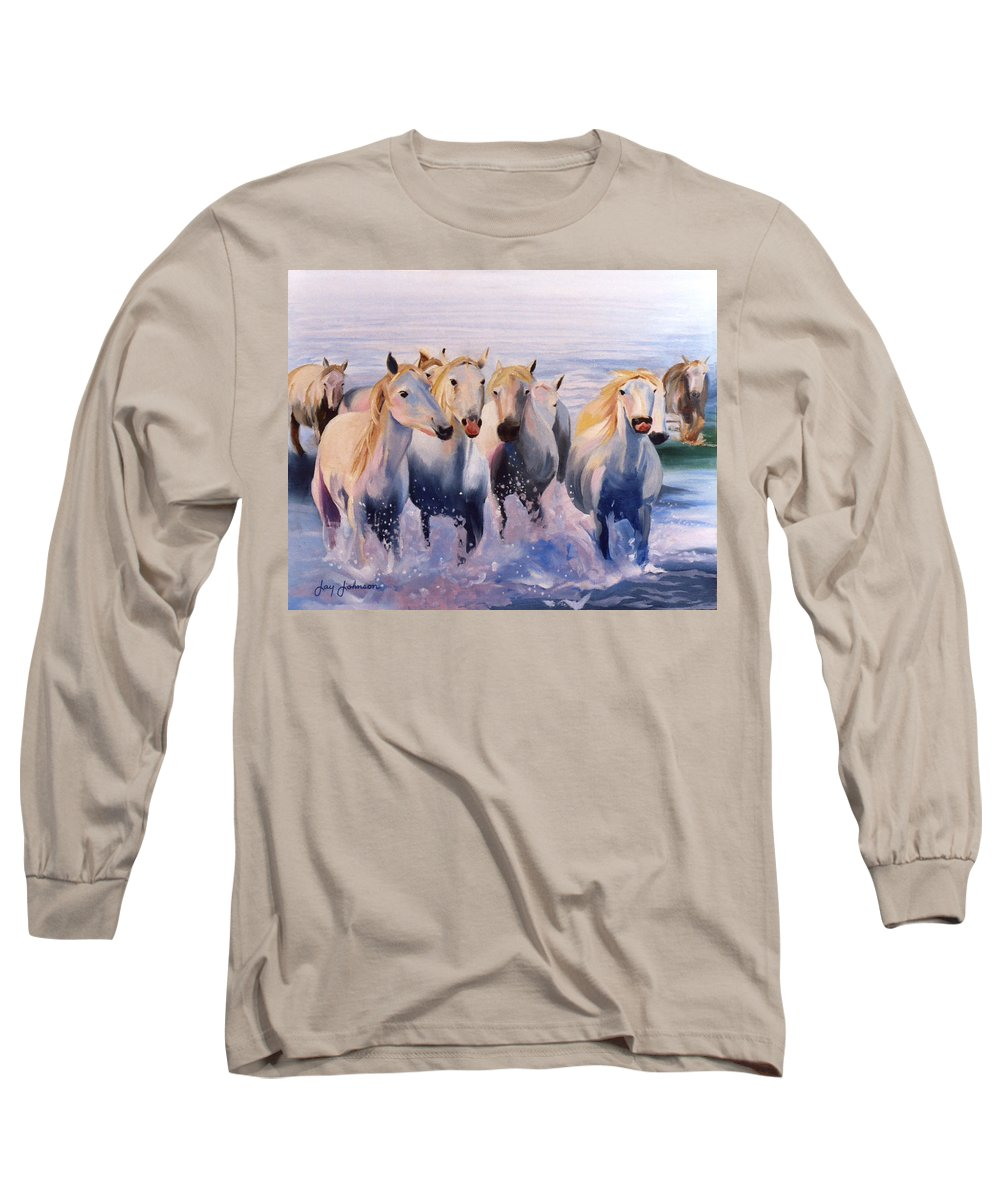 Long Sleeve T-Shirt featuring the painting Morning Run by Jay Johnson