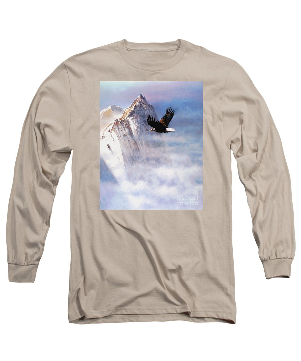 Eagle Long Sleeve T-Shirt featuring the painting Mountain Majesty by Robert Foster