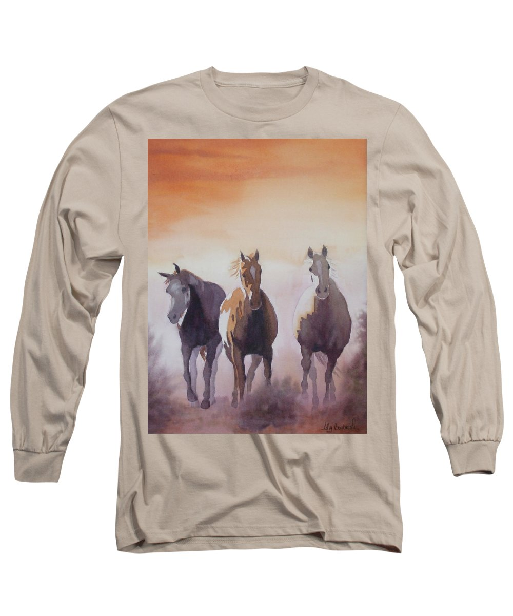 Horse Long Sleeve T-Shirt featuring the painting Mustangs Out Of The Fire by Ally Benbrook