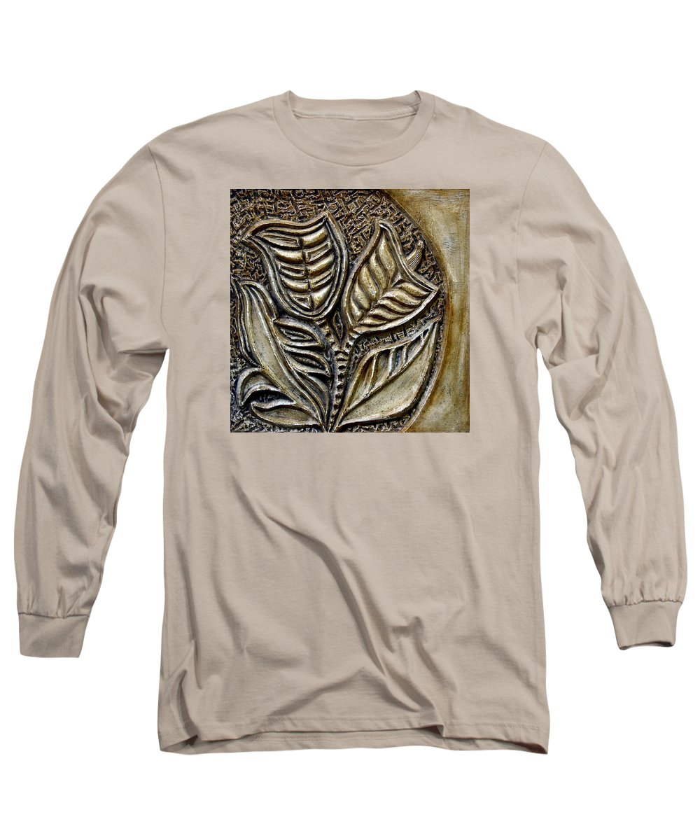 Vintaje Long Sleeve T-Shirt featuring the relief Vintaje Tile With Calas by Madalena Lobao-Tello