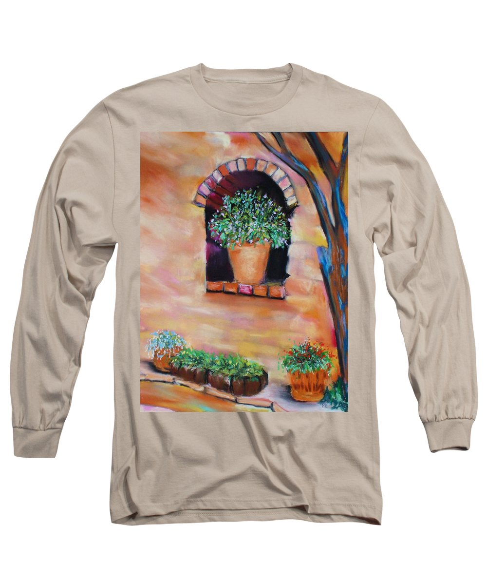 Courtyard Long Sleeve T-Shirt featuring the painting Nash's Courtyard by Melinda Etzold