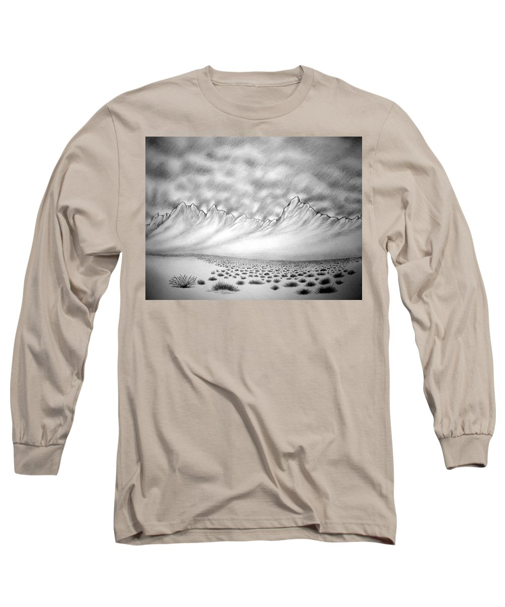 Long Sleeve T-Shirt featuring the drawing New Mexico Passage by Marco Morales
