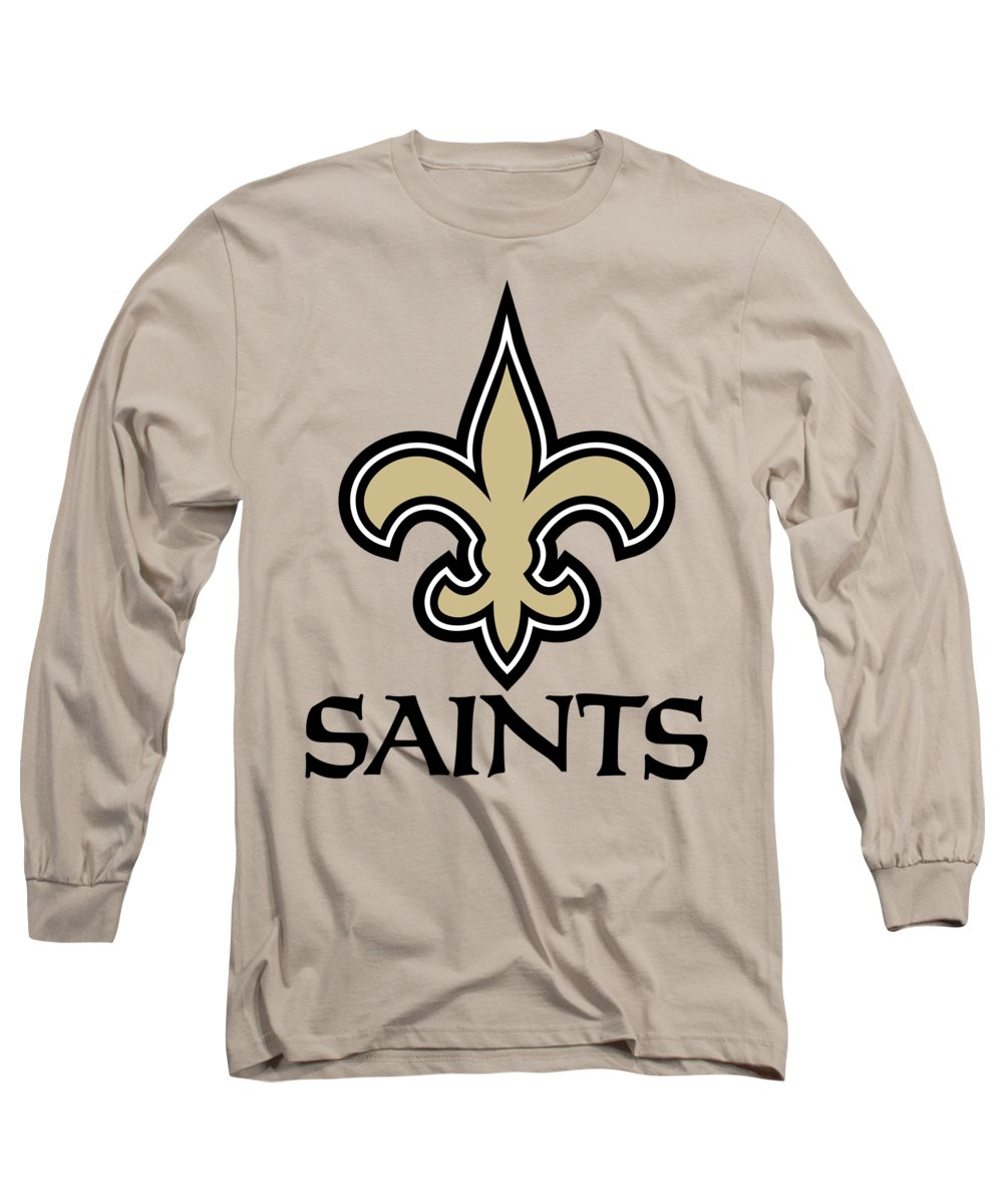 New Orleans Saints Long Sleeve T-Shirt featuring the mixed media New Orleans Saints On An Abraded Steel Texture by Movie Poster Prints