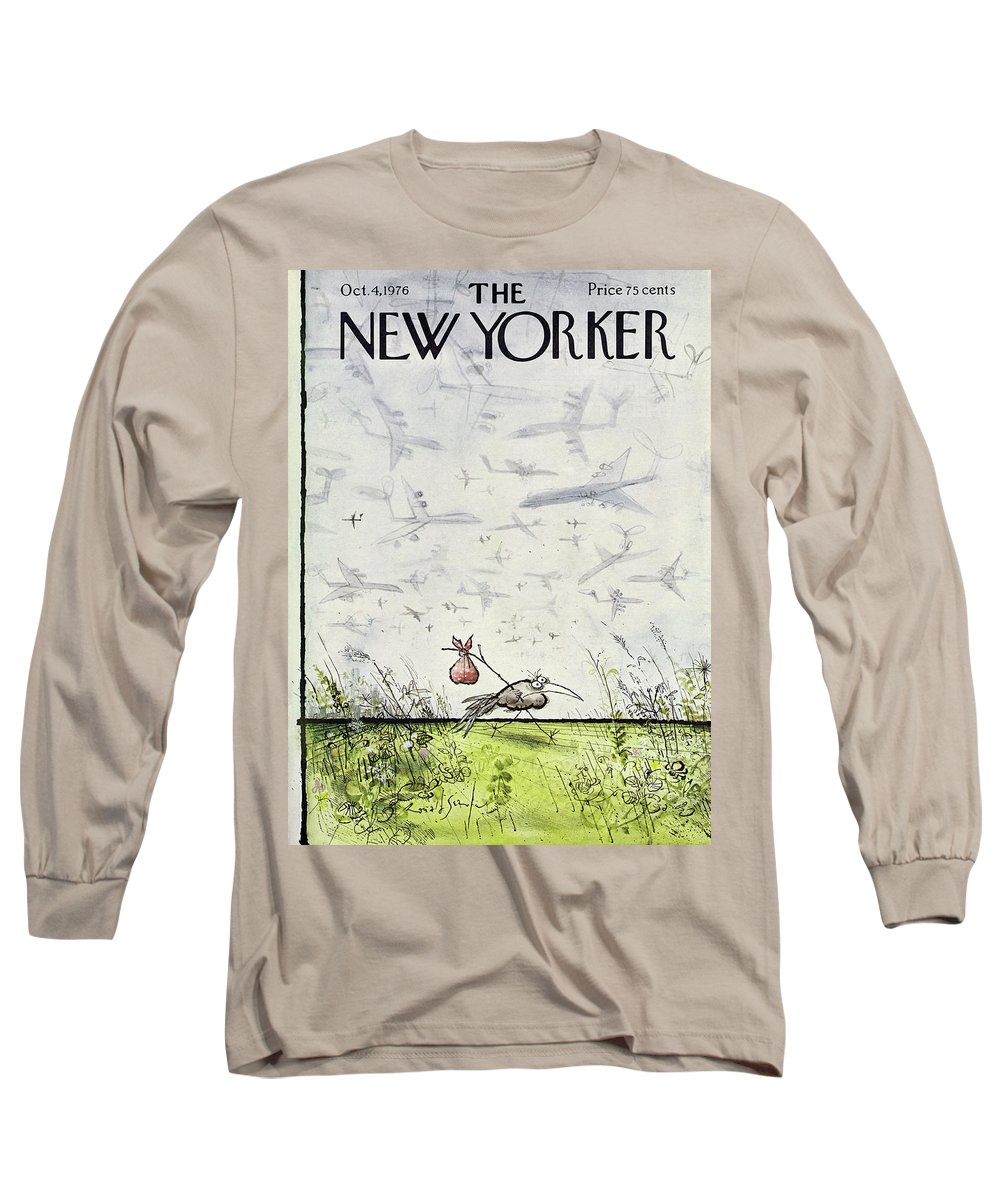 Travel Long Sleeve T-Shirt featuring the drawing New Yorker October 4 1976 by Ronald Searle