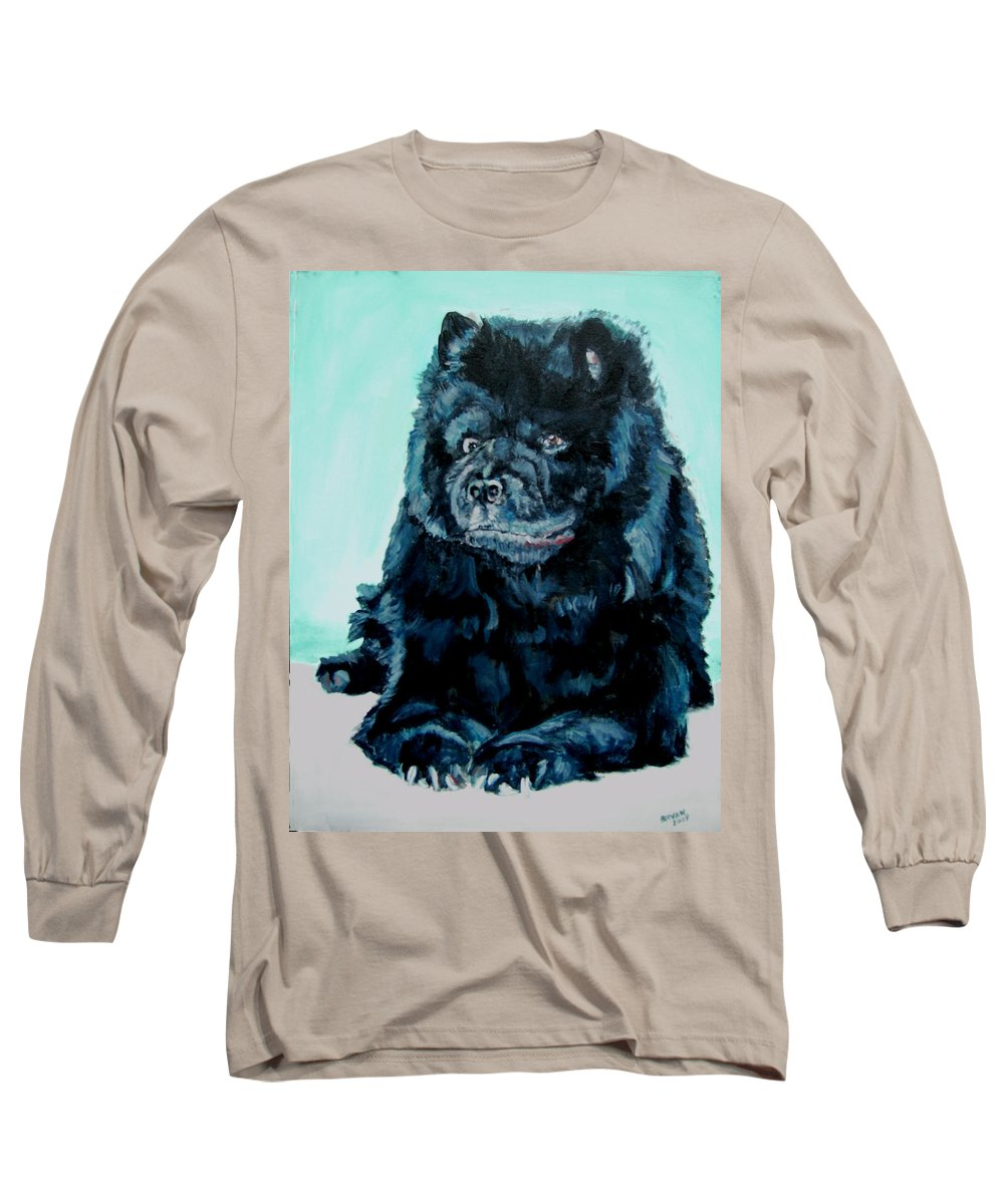 Dog Long Sleeve T-Shirt featuring the painting Nikki The Chow by Bryan Bustard