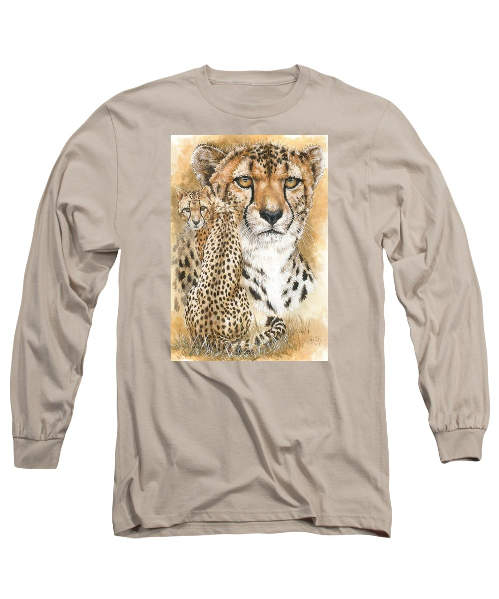 Cheetah Long Sleeve T-Shirt featuring the mixed media Nimble by Barbara Keith